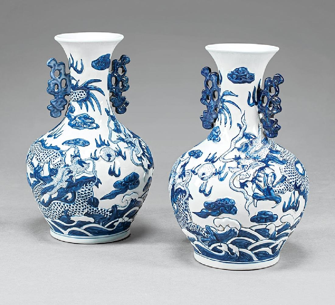 Chinese Blue and White Porcelain Bottle Vases