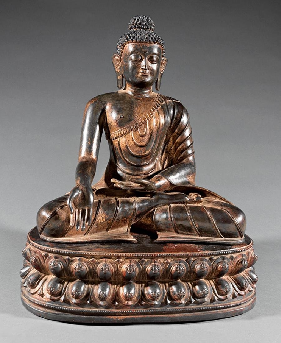 Chinese Parcel Gilt Bronze Figure of Buddha