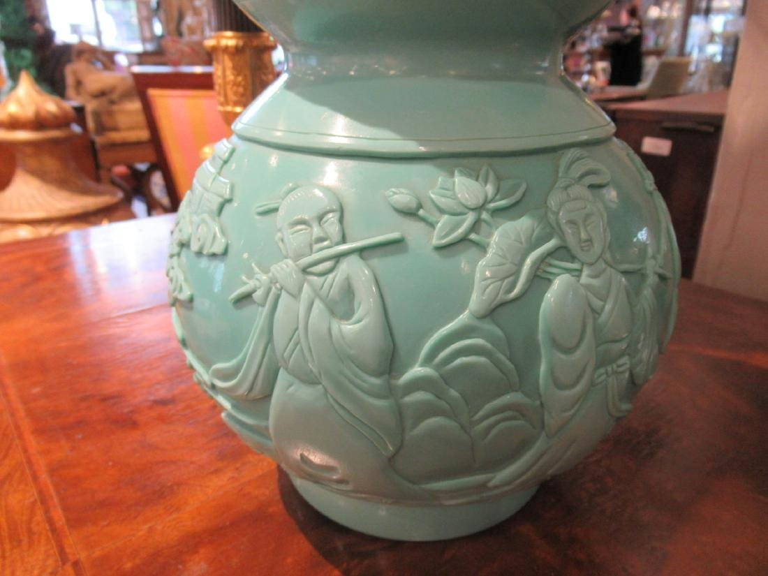 Chinese Pale Blue Glass Double Gourd Vase - 5
