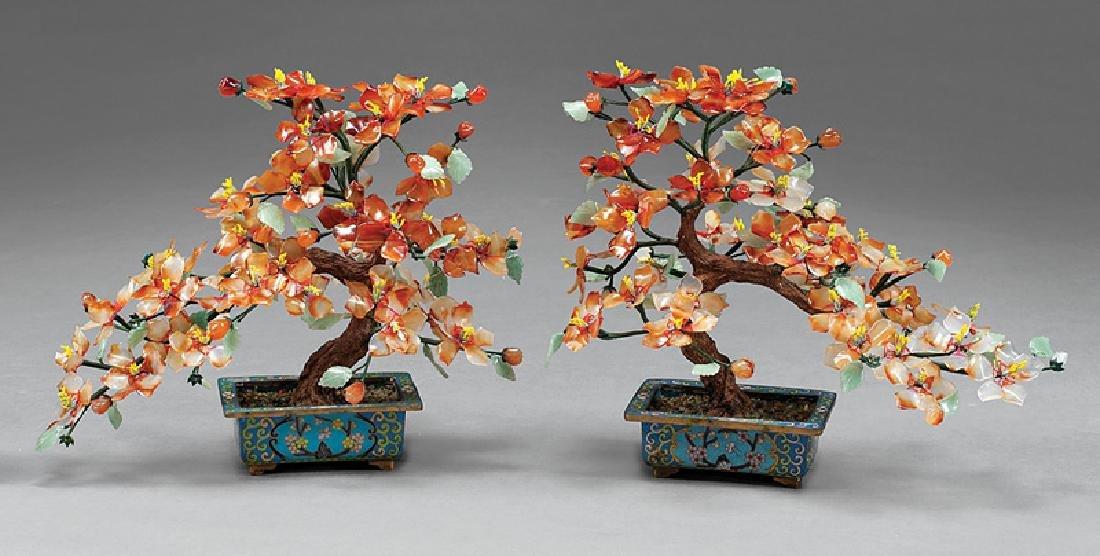 Chinese Hardstone Trees in Enamel Jardinieres