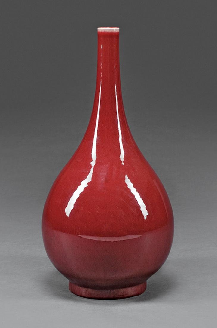 Large Chinese Oxblood Porcelain Bottle Vase