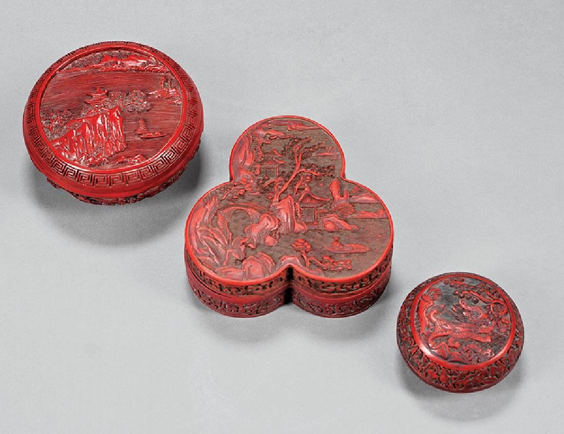Chinese Carved Lacquer Cinnabar Covered Boxes