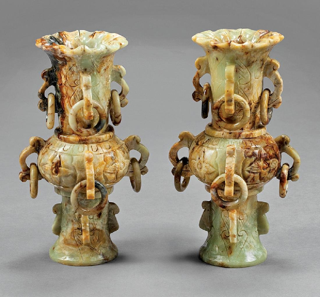 Pair of Chinese Soapstone Gu Vases