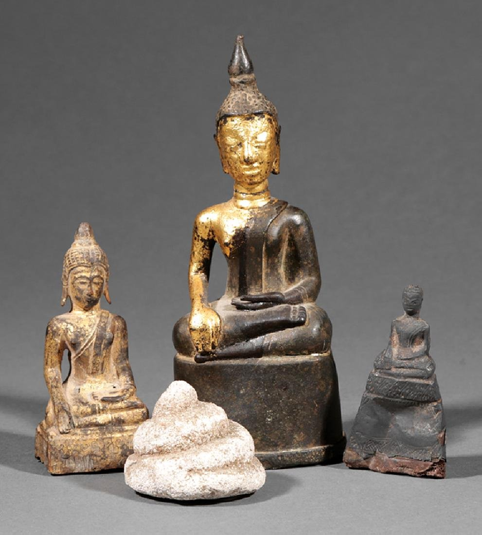 Four Thai Buddhist Figures and Figural Fragments