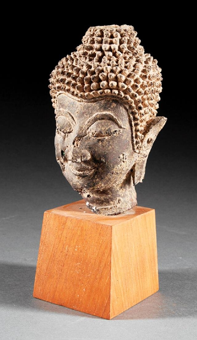 Antique Southeast Asian Bronze Buddhist Head