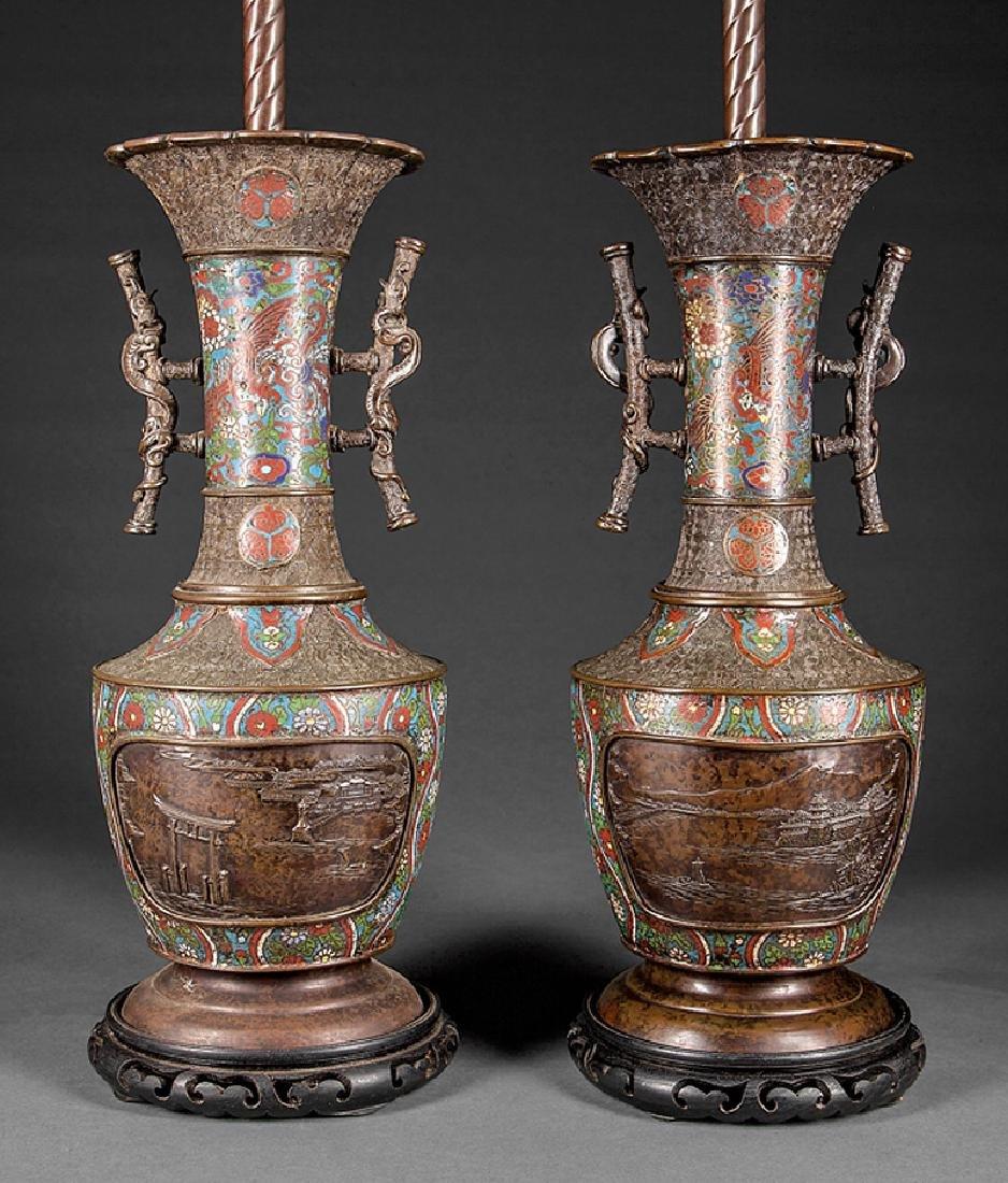 Japanese Cloisonne Enamel, Patinated Bronze Vases