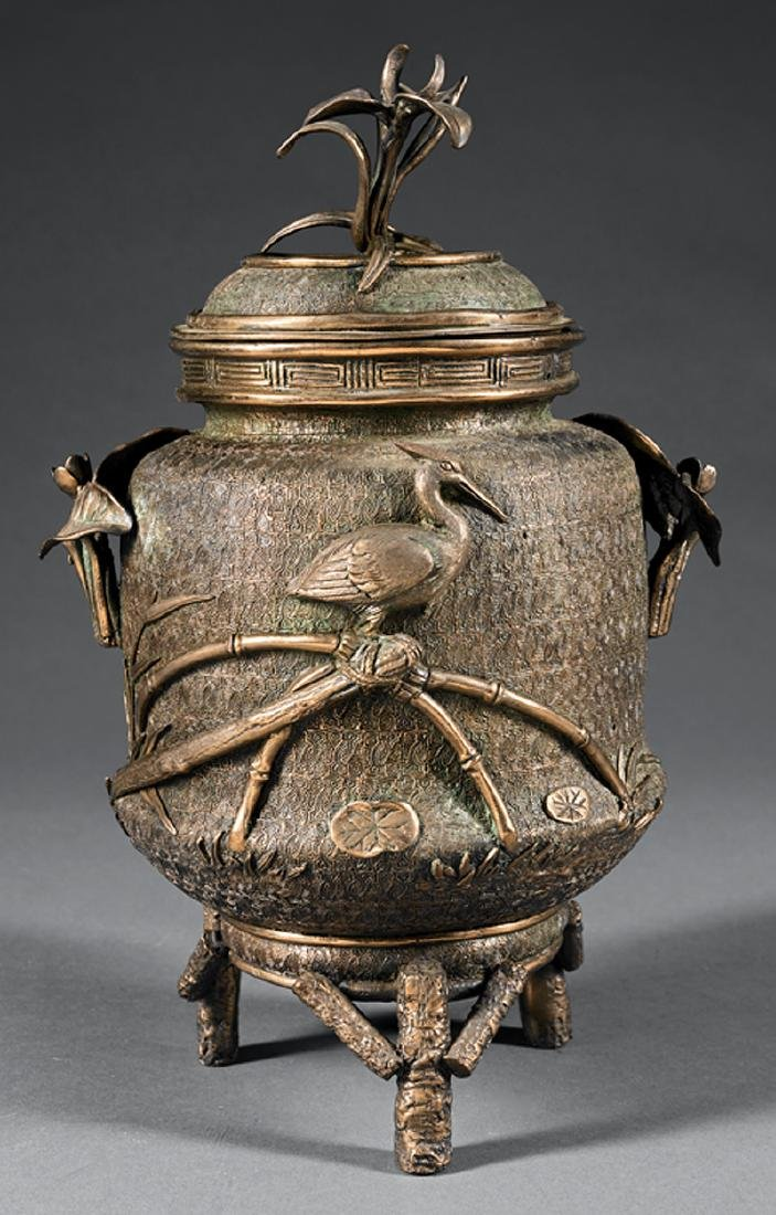 Japanese Polished and Patinated Brass Covered Urn