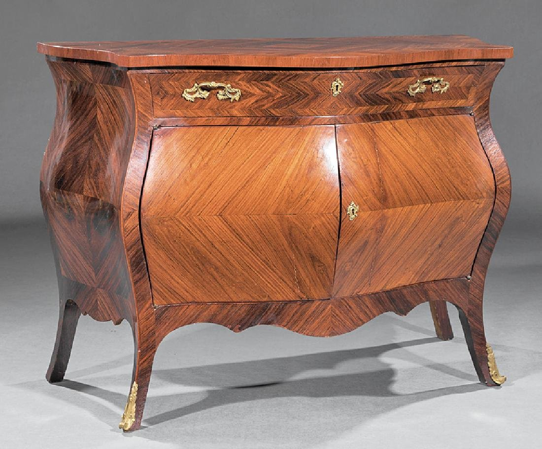 Bronze-Mounted, Kingwood Parquetry Bombe Commode
