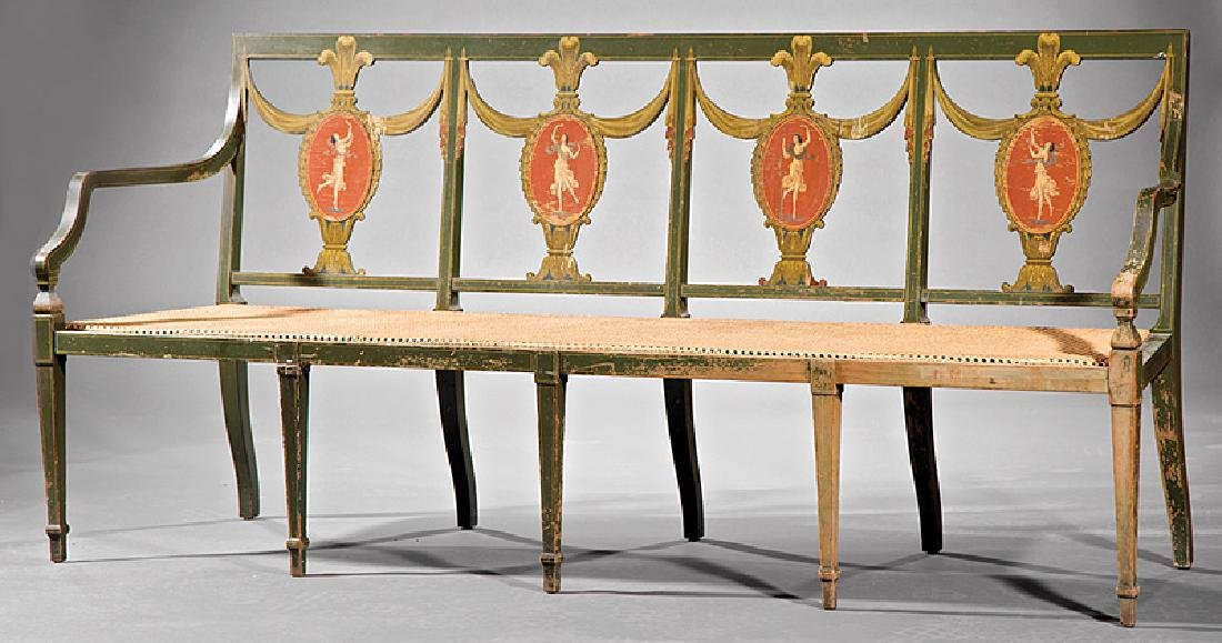 Neoclassical-Style Paint-Decorated Settee