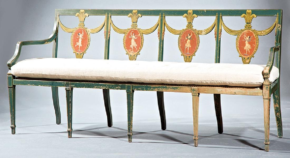 Neoclassical-Style Paint-Decorated Settee - 2