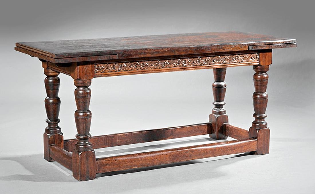 French Carved Walnut Draw Leaf Table