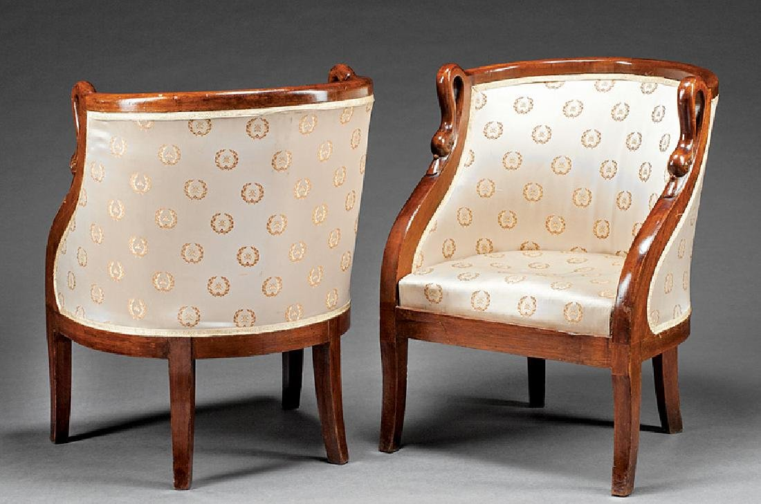 Louis Philippe-Style Carved Mahogany Bergeres