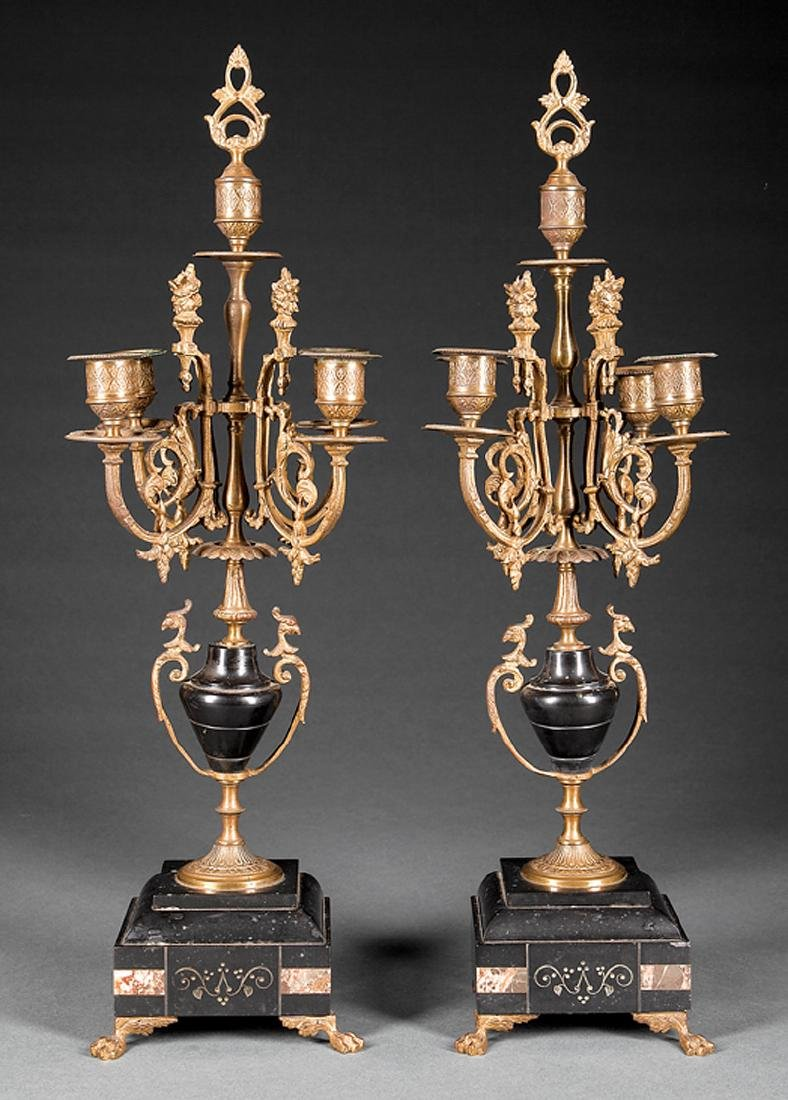 Continental Bronze, Marble Five-Light Candelabra