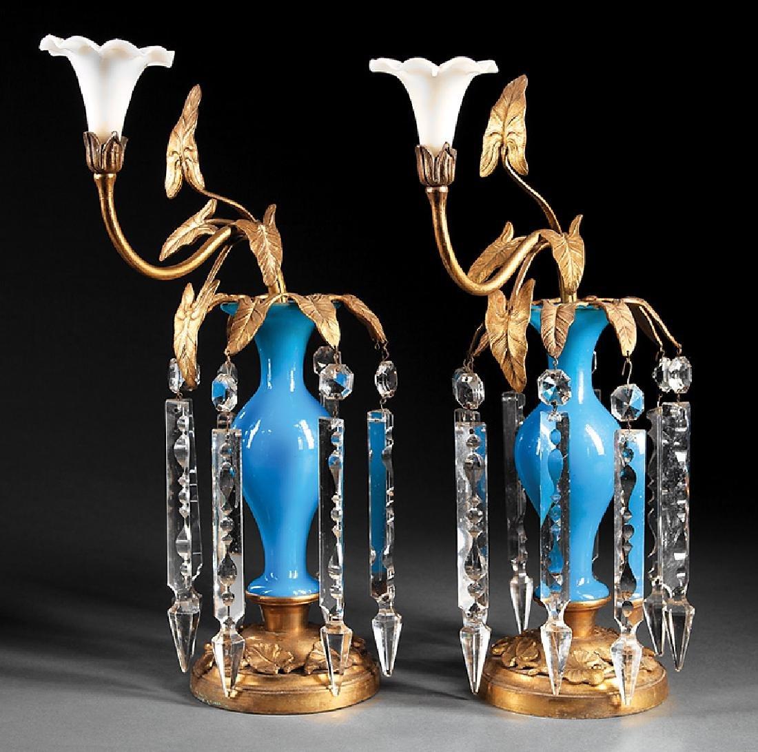 Beaux Arts Gilt Bronze, Opaline Glass Girandoles