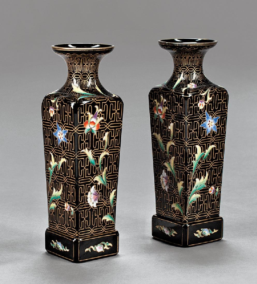 Pair of Bohemian Enameled Glass Vases