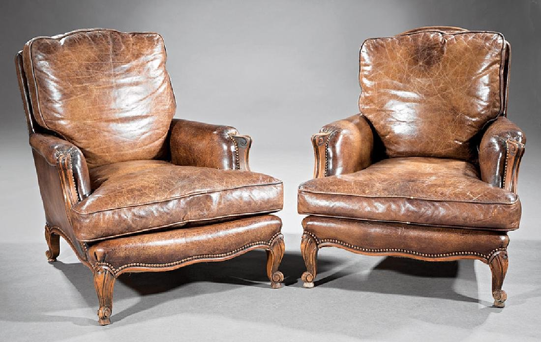 Louis XV-Style Leather and Carved Oak Club Chairs