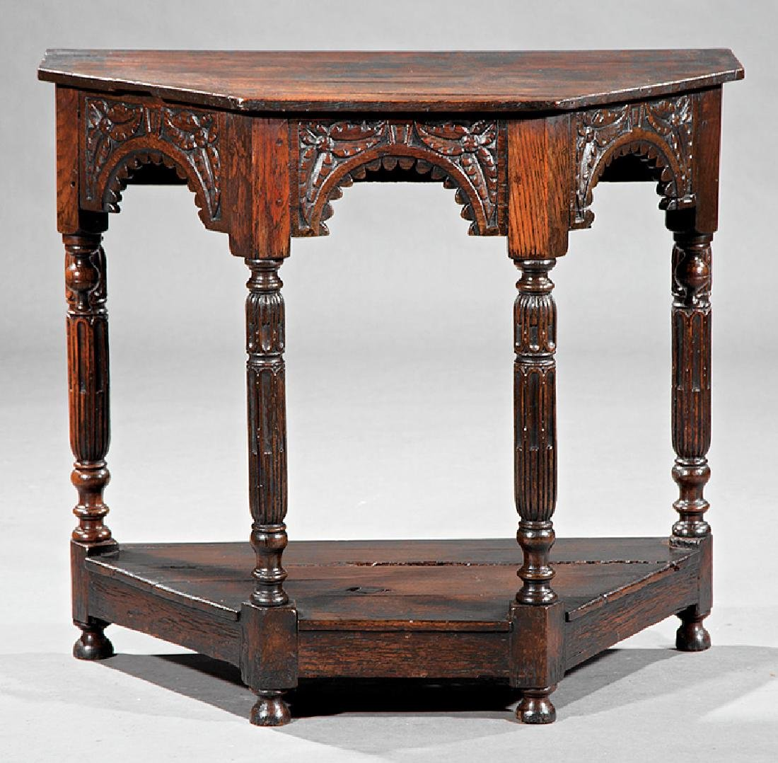 English Carved Walnut Console