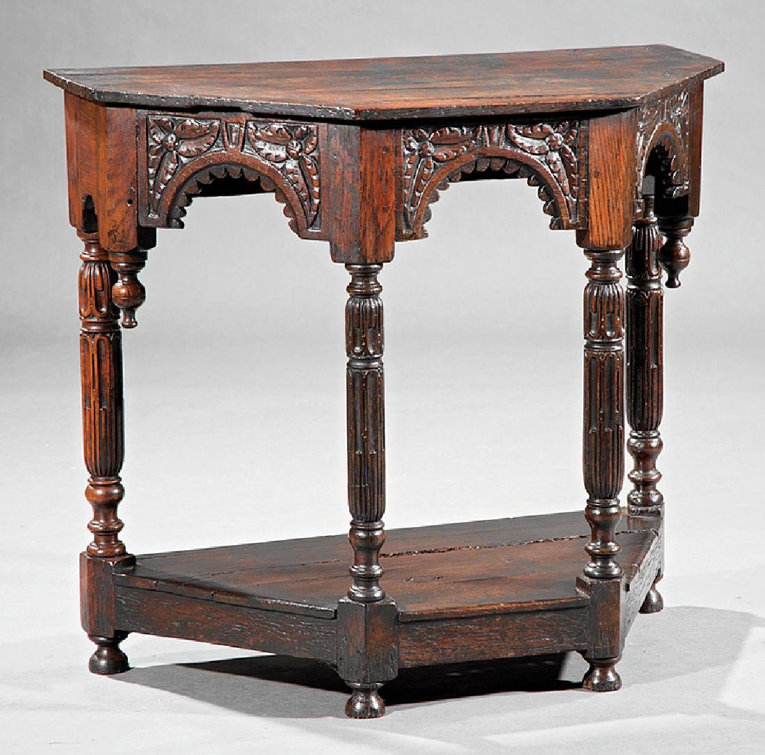 English Carved Walnut Console - 2