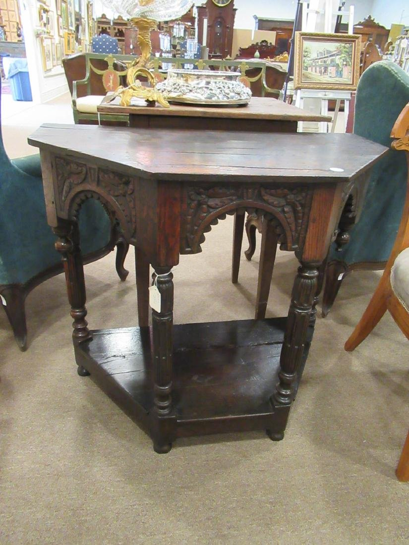 English Carved Walnut Console - 3