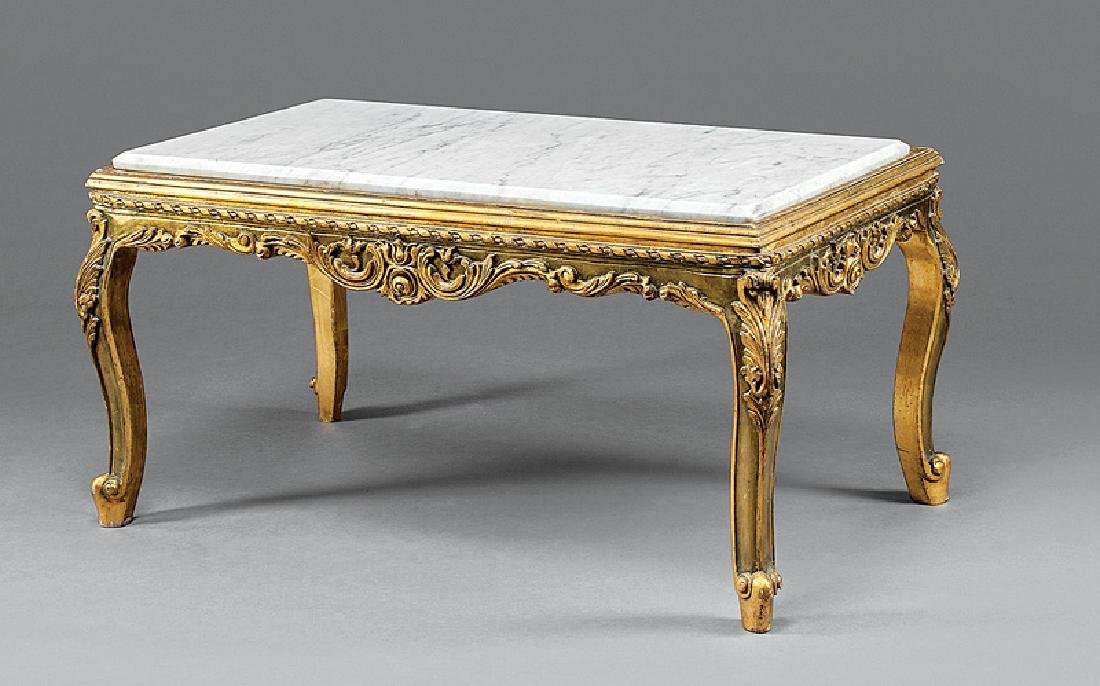 Louis XV-Style Carved Giltwood Low Table