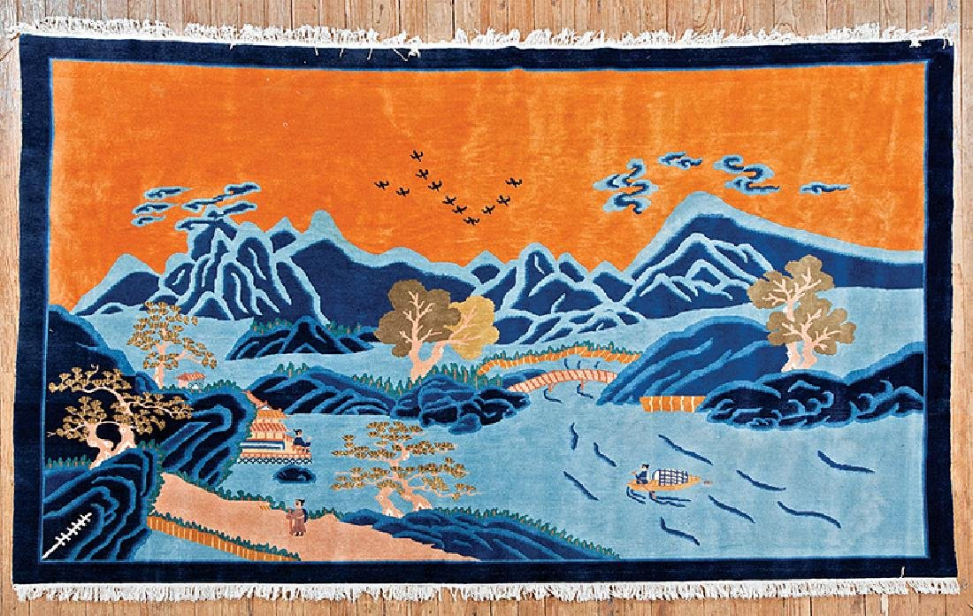 """Contemporary Wool """"Pictorial"""" Rug"""
