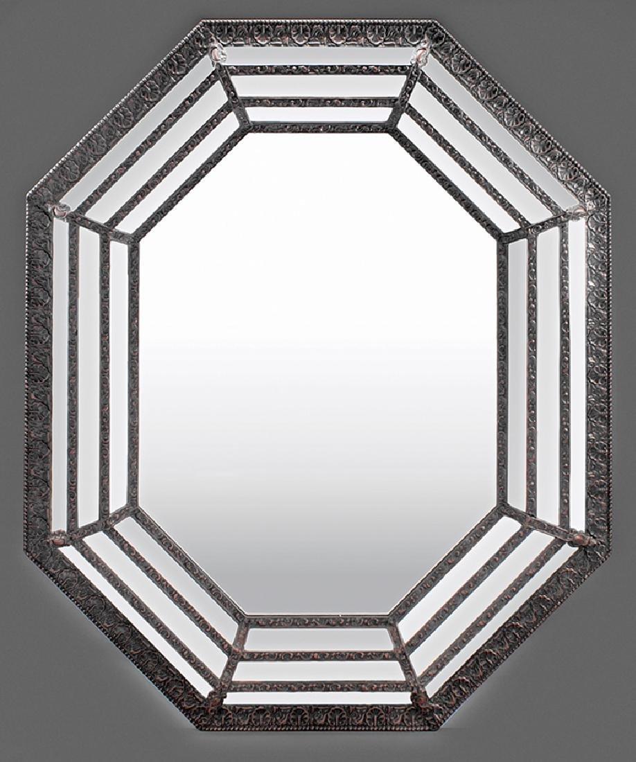 French Argente Octagonal Cushion Mirror
