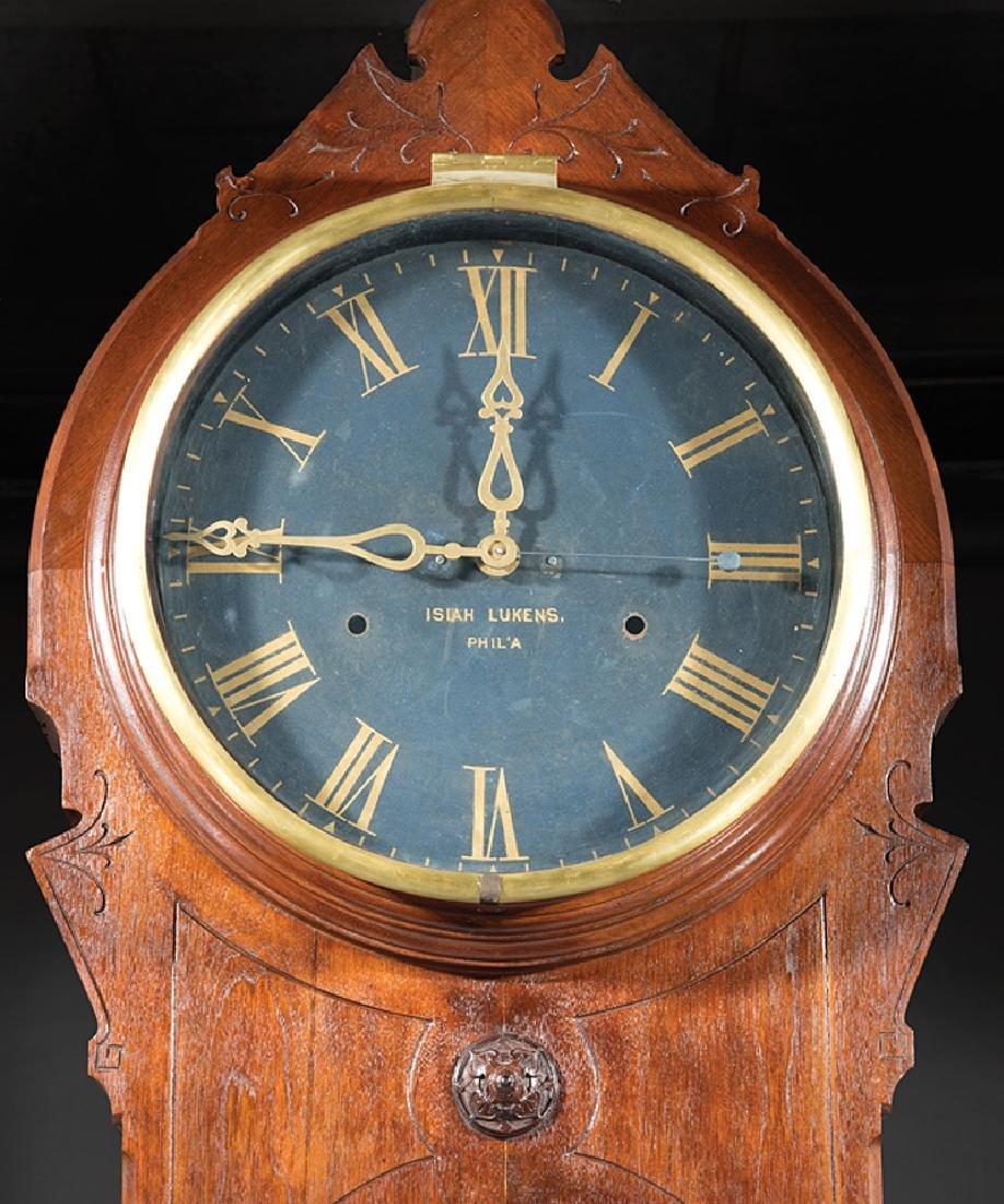 "American Walnut Tall Case Clock, ""Isiah Lukens"" - 2"