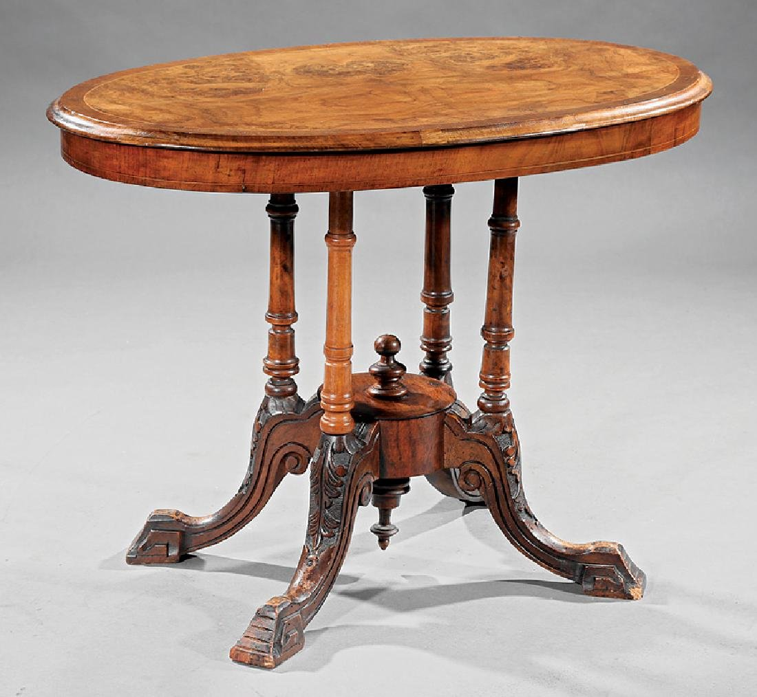 English Carved and Burl Walnut Loo Table