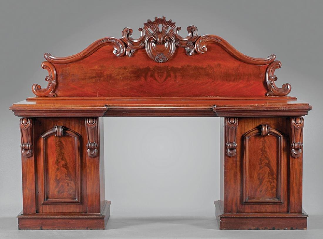 English Carved Mahogany Pedestal Sideboard