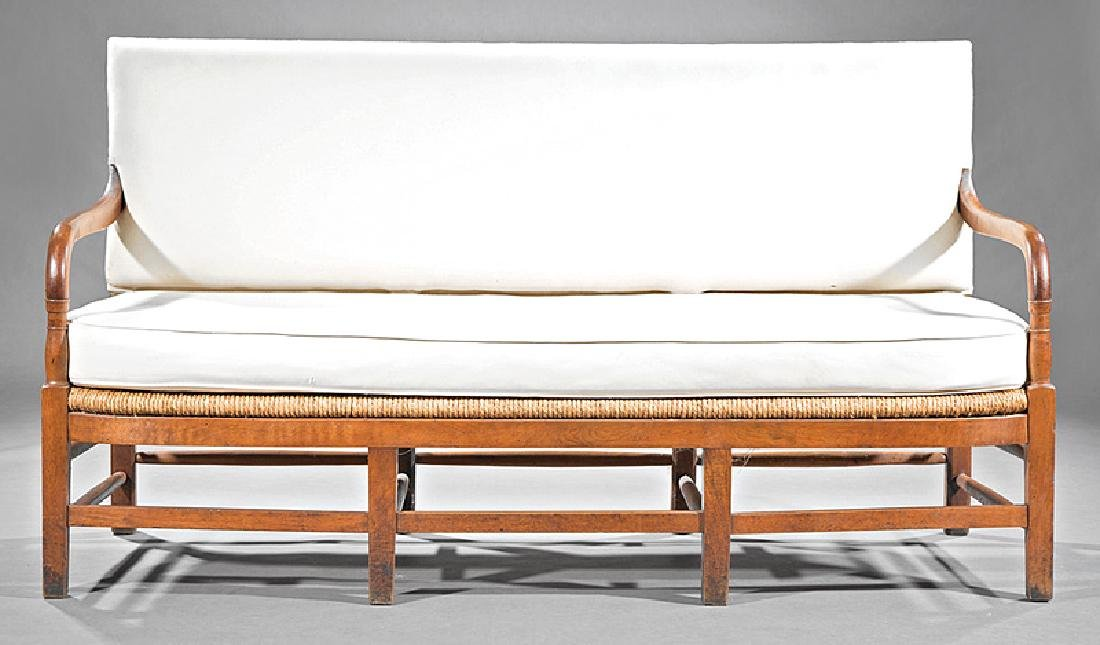 French Provincial Cherrywood and Rush Sofa - 2