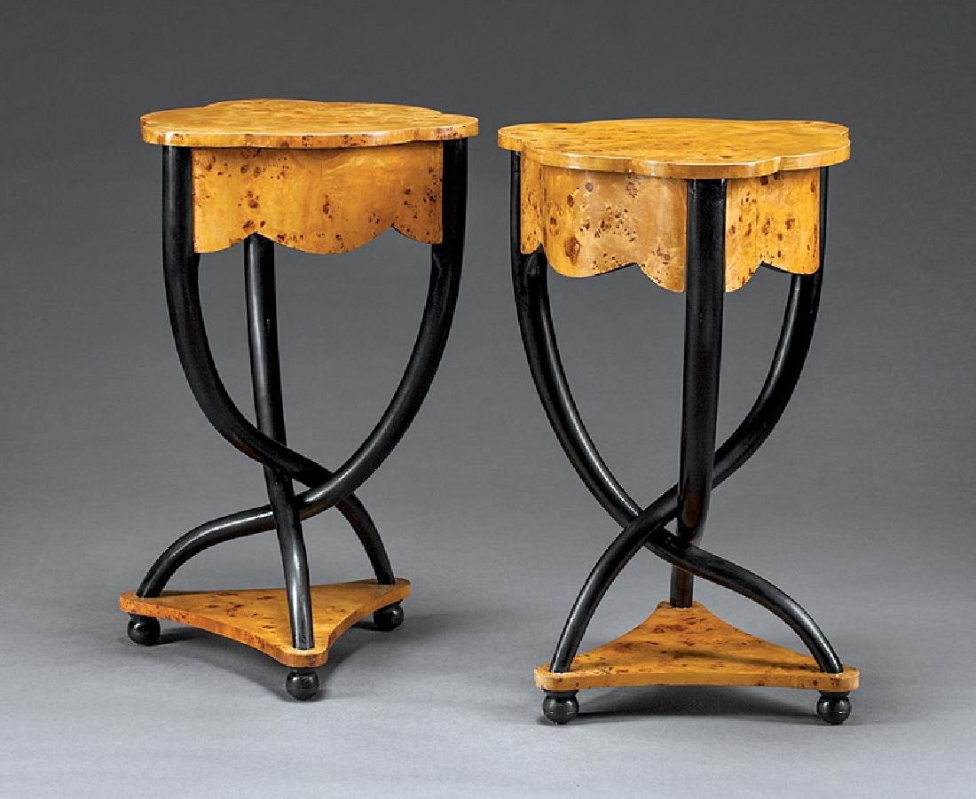 Burled Wood and Parcel Ebonized Tables