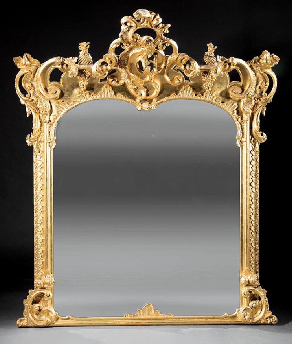 Rococo Revival Carved Giltwood Overmantel Mirror