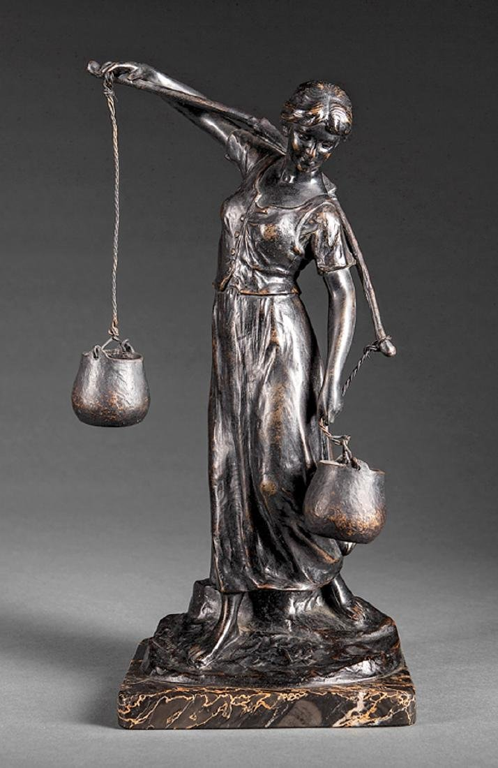 Continental Bronze Figure of a Water Carrier