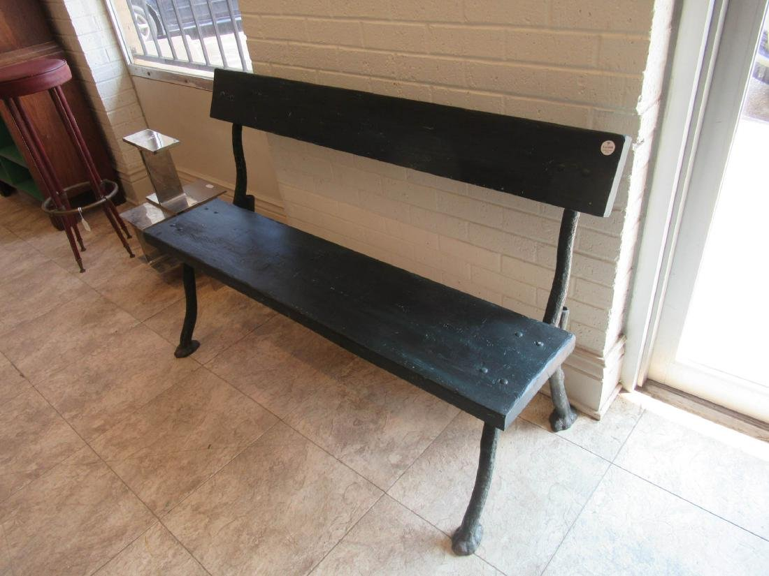 Cast Iron and Wood Garden Bench - 2
