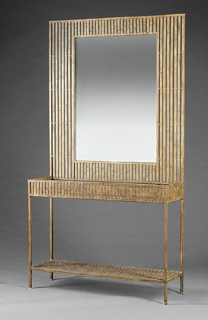 Art Moderne-Style Painted Iron Console-and-Mirror
