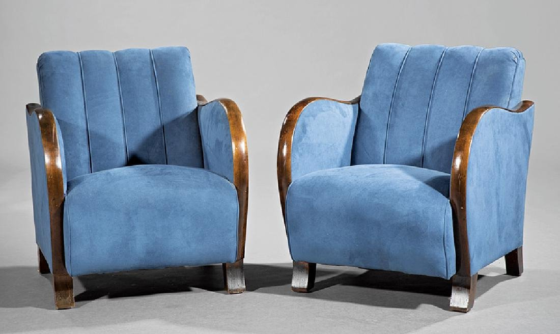 Art Deco Walnut and Suede Club Chairs