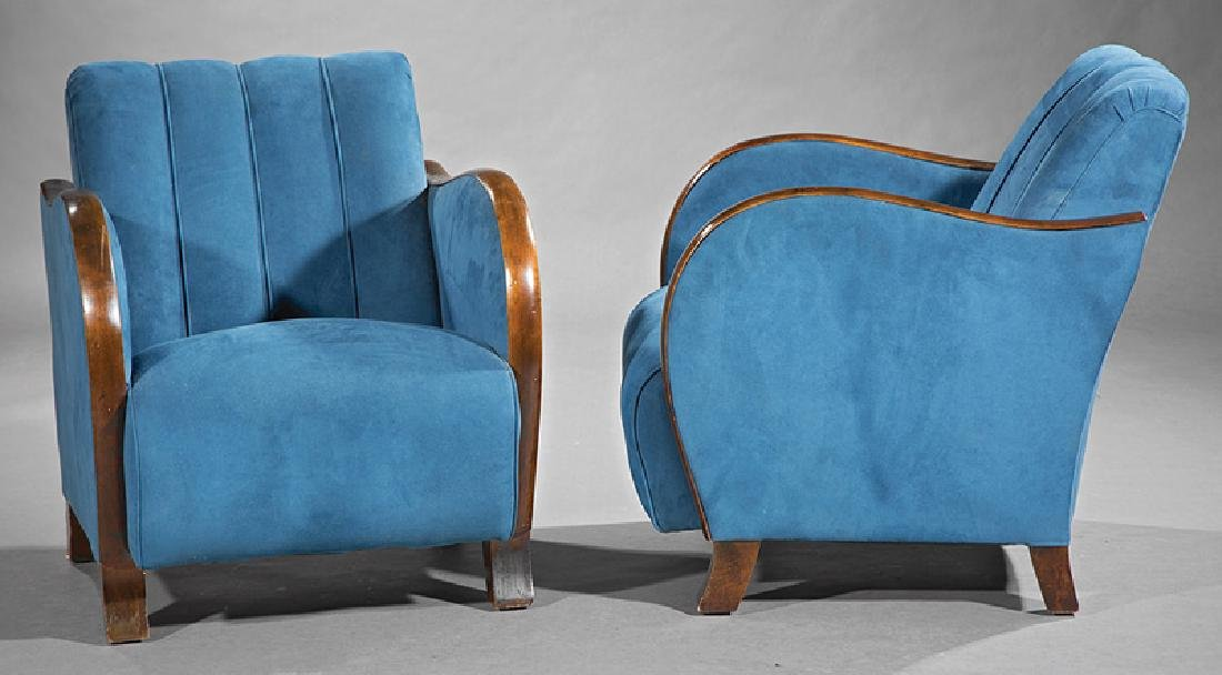 Art Deco Walnut and Suede Club Chairs - 2