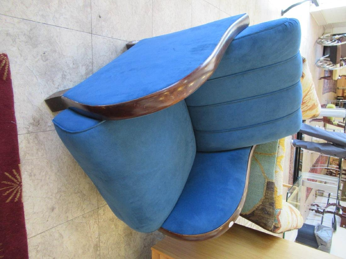 Art Deco Walnut and Suede Club Chairs - 5