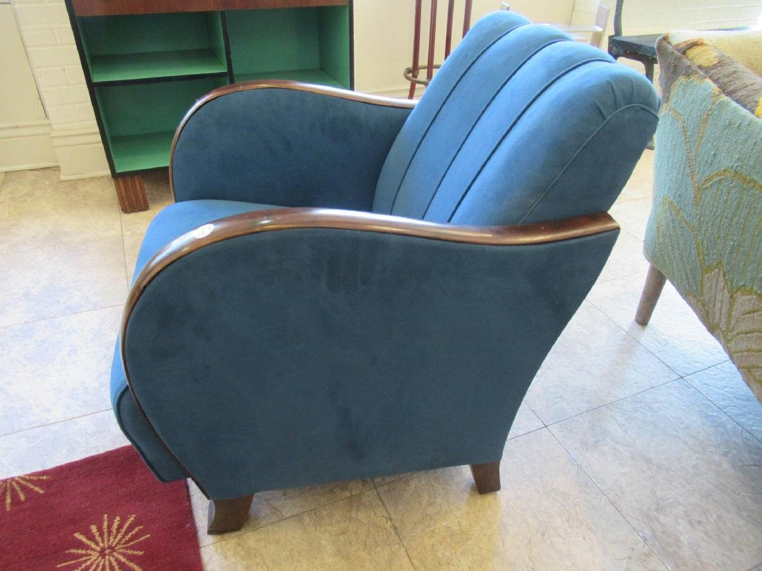 Art Deco Walnut and Suede Club Chairs - 7