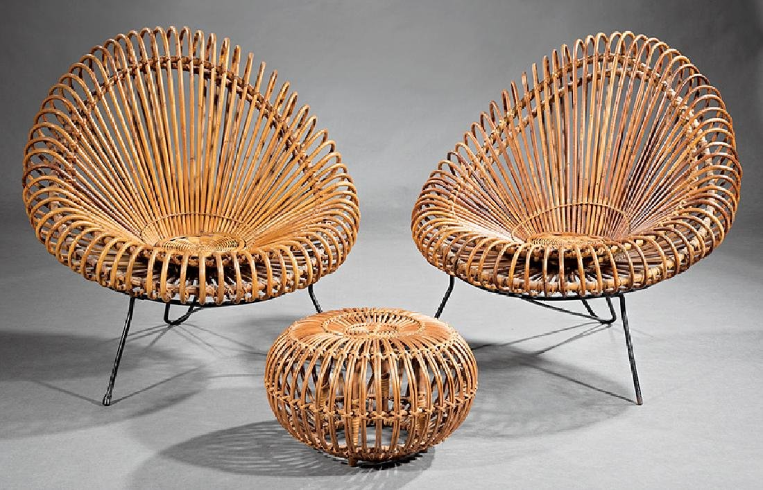 Rattan and Steel Lounge Chairs, attr. Albini