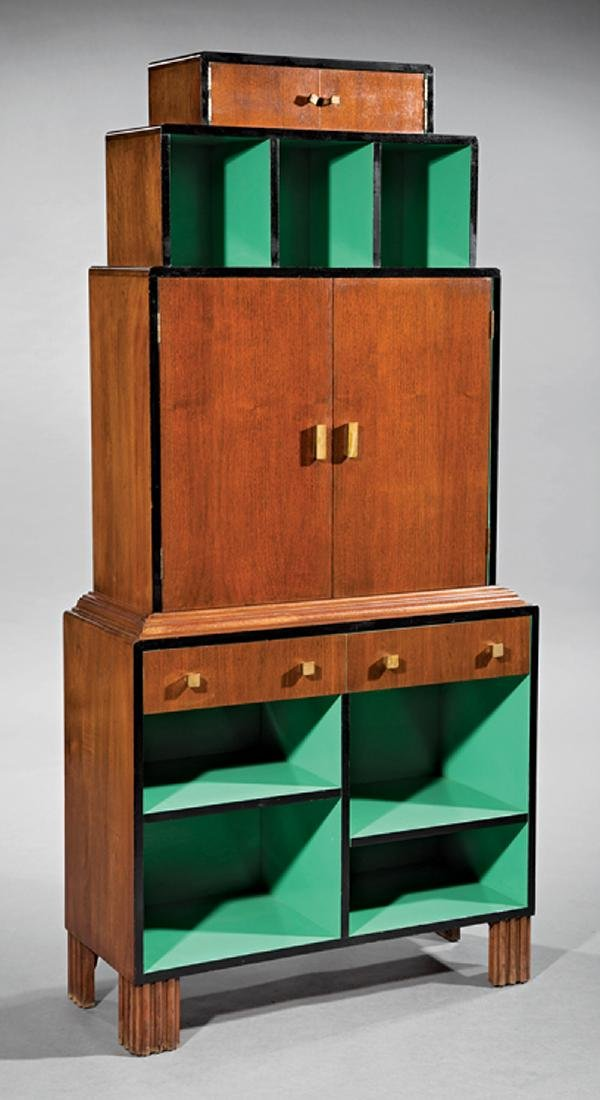 Paul T. Frankl Mahogany, Lacquered Wood Bookcase