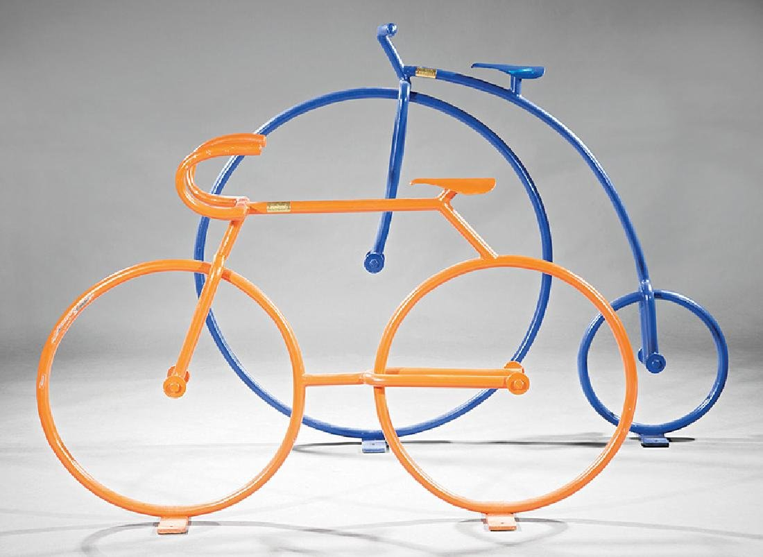 Two Italian Painted Steel Bicycle-Form Sculptures