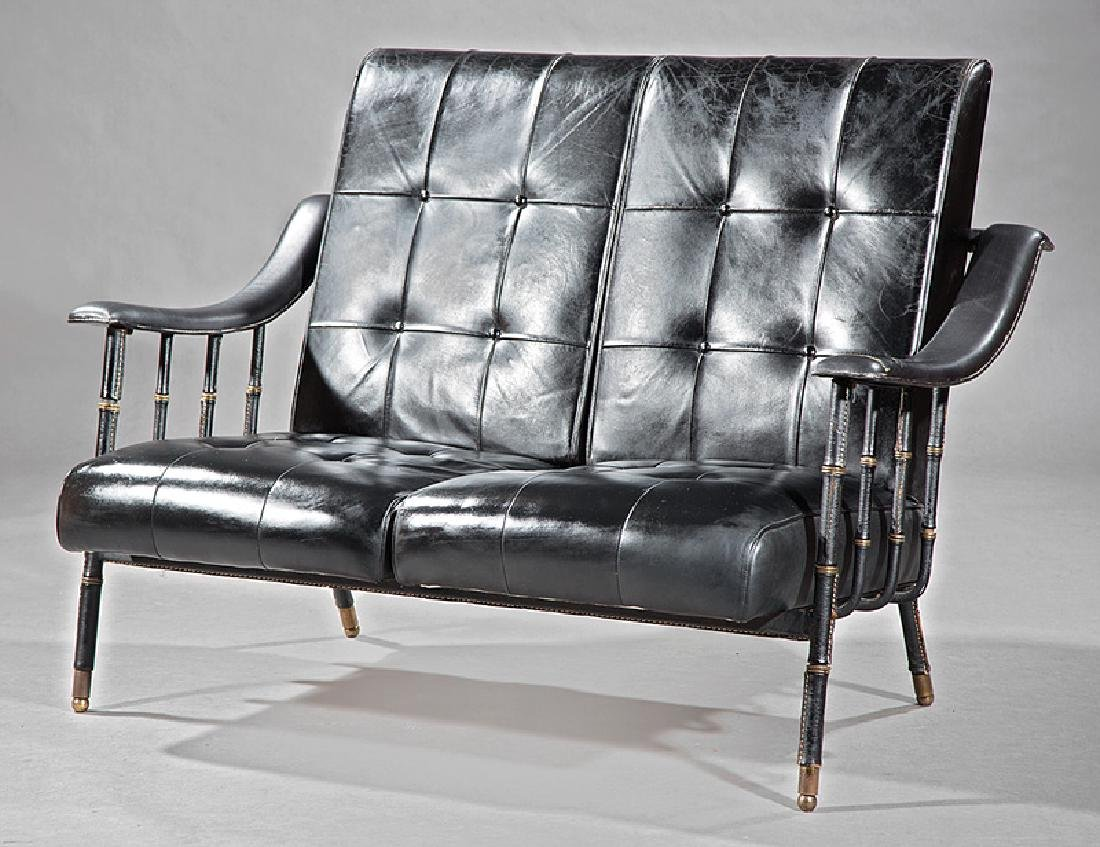 Jacques Adnet Stitched Leather and Brass Settee
