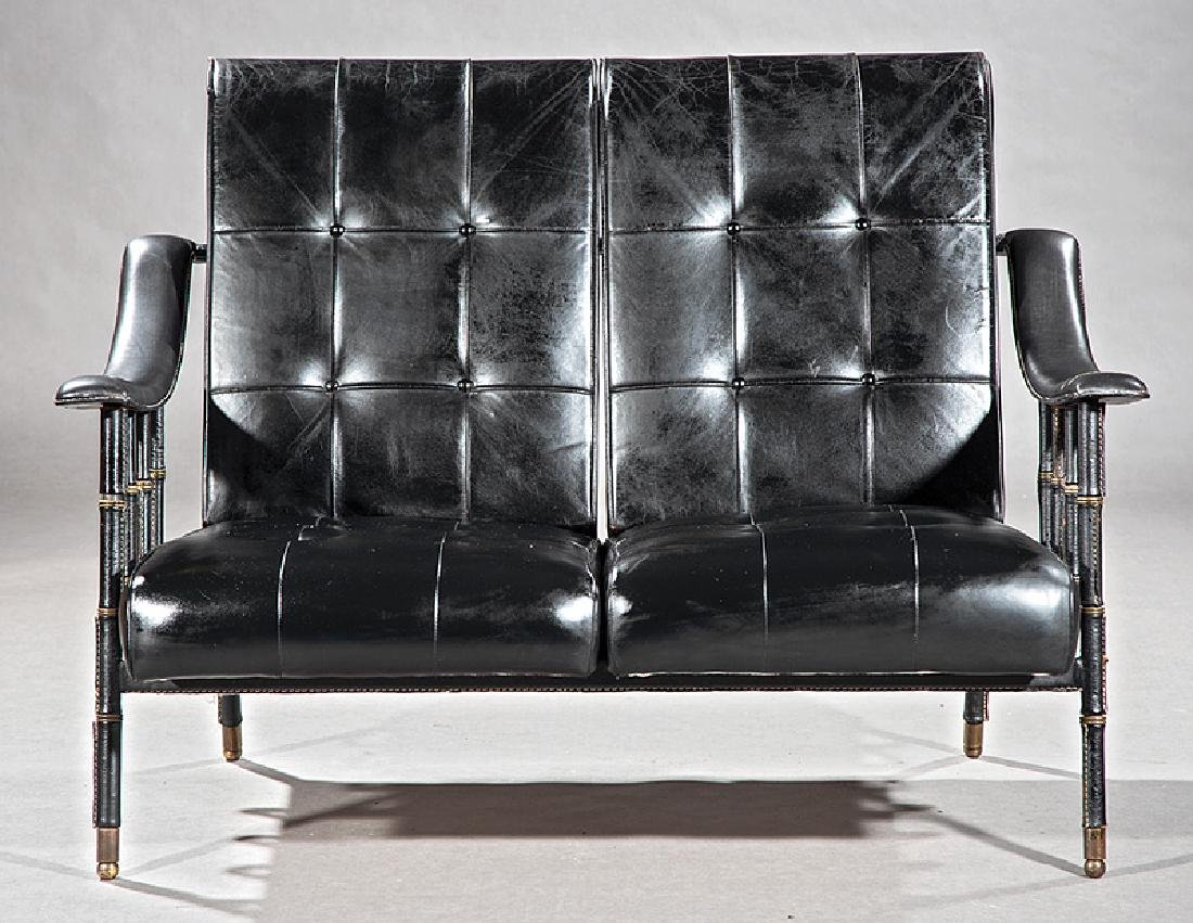 Jacques Adnet Stitched Leather and Brass Settee - 2