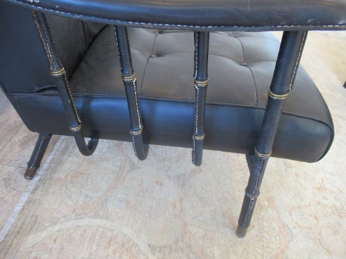 Jacques Adnet Stitched Leather and Brass Settee - 6