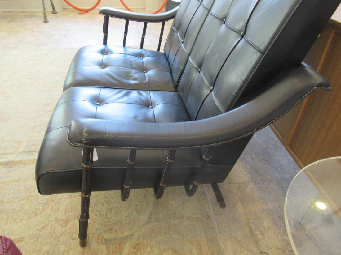 Jacques Adnet Stitched Leather and Brass Settee - 7