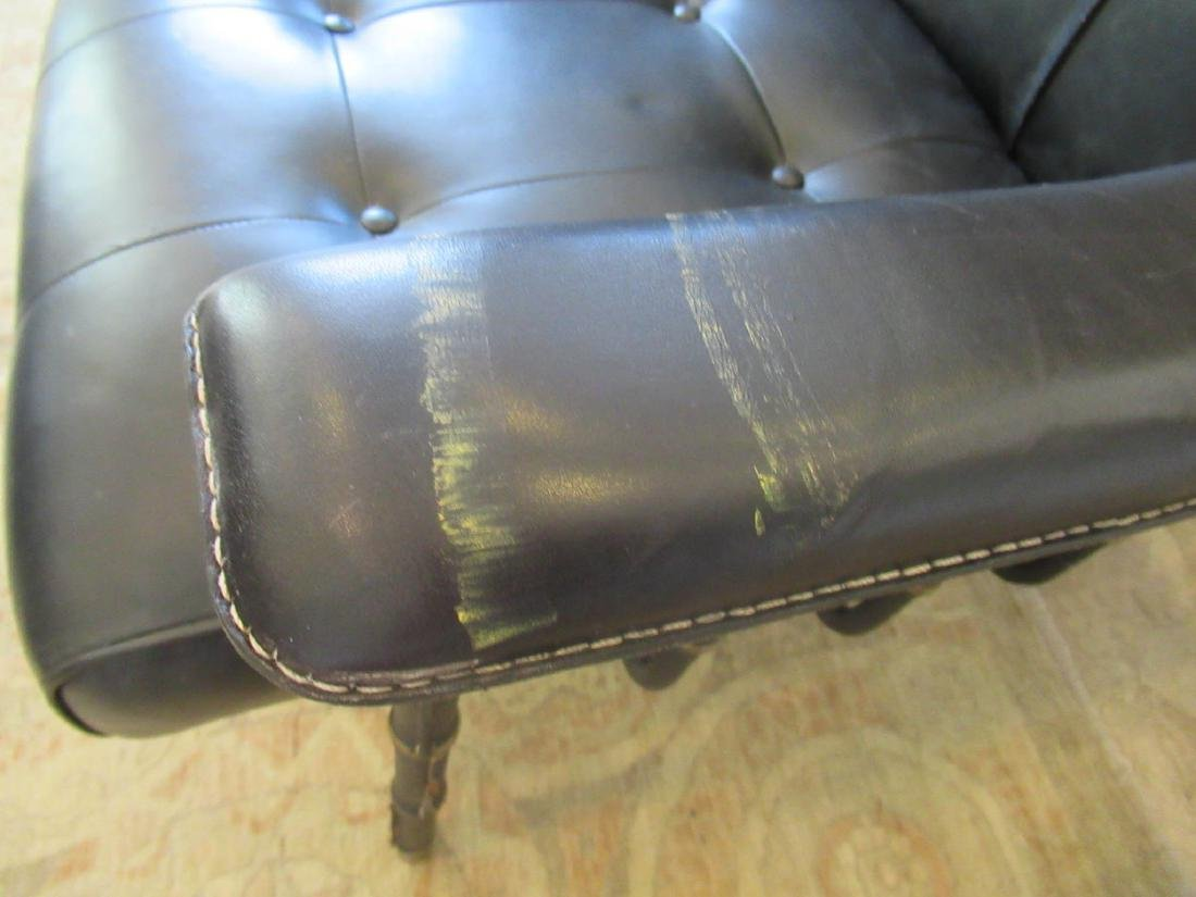 Jacques Adnet Stitched Leather and Brass Settee - 8
