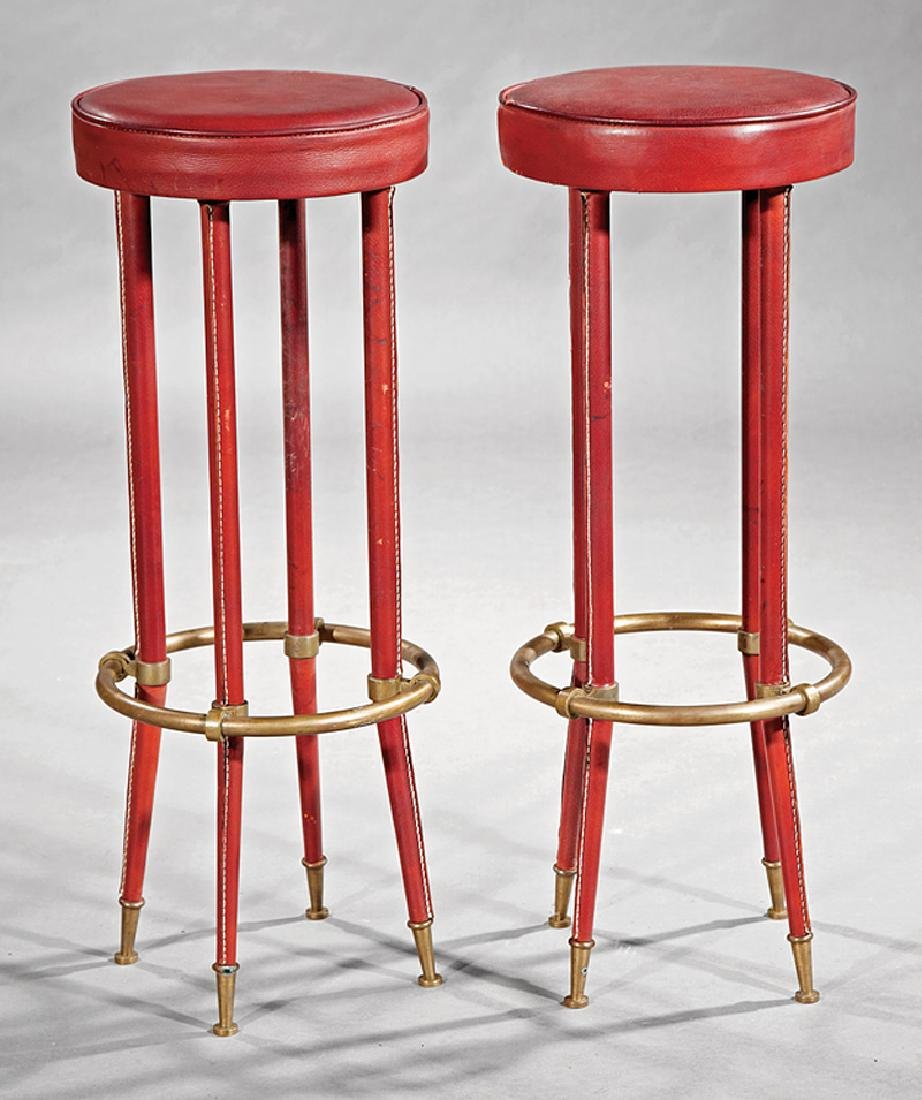 Jacques Adnet Stitched Leather and Brass Stools