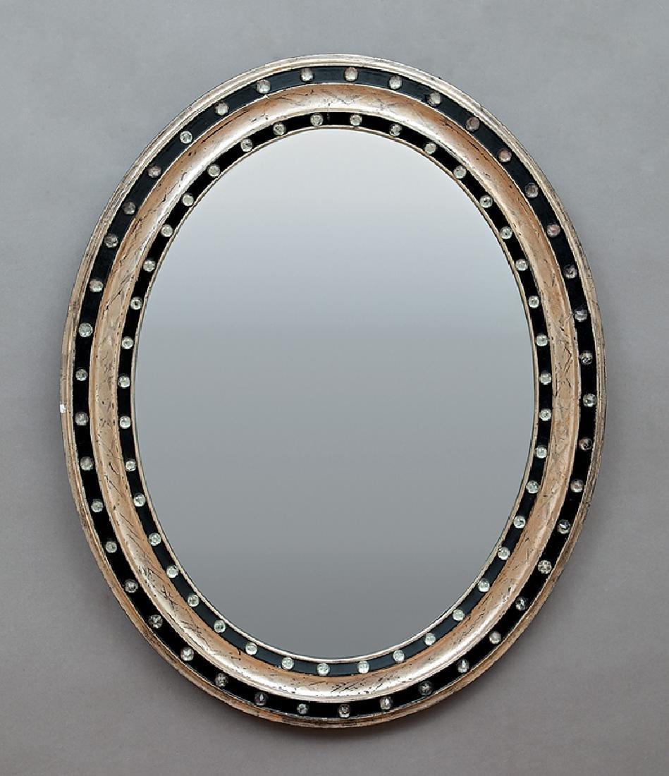 Pair of Italian Silvered and Ebonized Mirrors