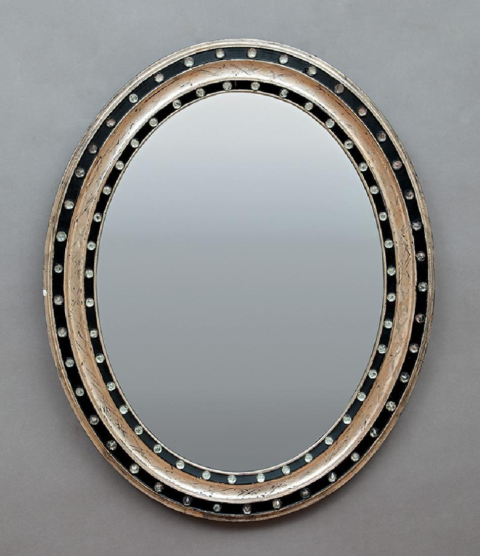Pair of Italian Silvered and Ebonized Mirrors